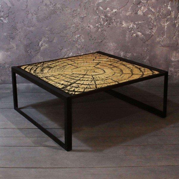 Журнальный столик Wood из массива сосны и стали