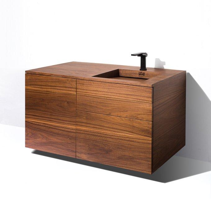 Тумба Wood Pro с двумя ящиками и деревянной раковиной