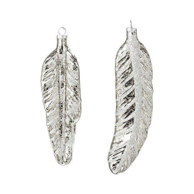 Новогоднее украшение Feather сет 2 шт из стекла