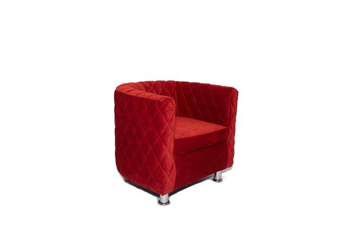 Кресло Космос с отстрочкой красного цвета