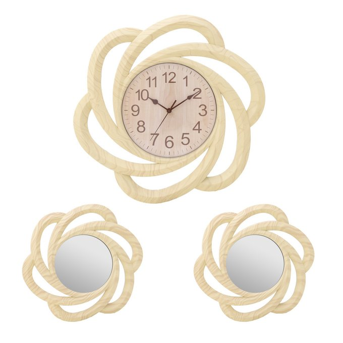 Набор из часов и двух зеркал бежевого цвета