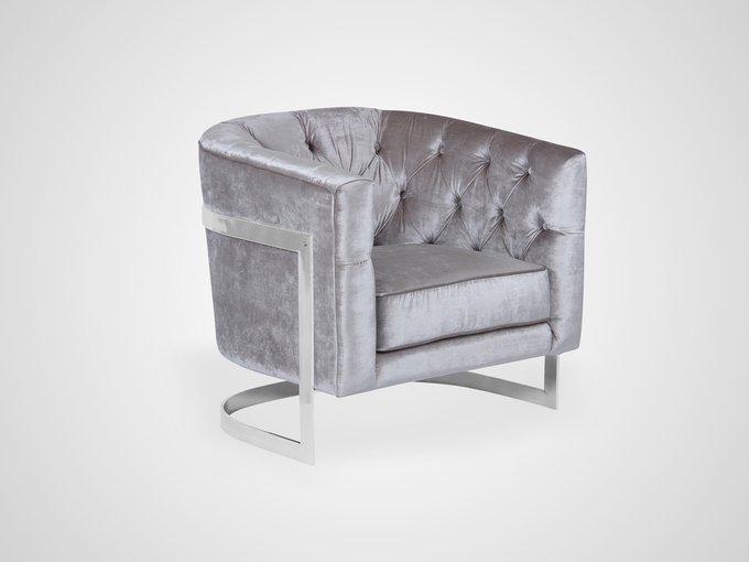 Кресло с обивкой из ткани серого цвета