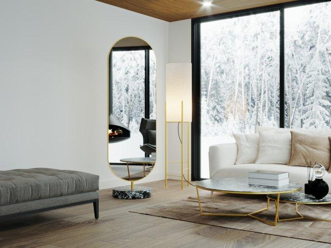 Овальное отдельно стоящее интерьерное зеркало в декоративной раме
