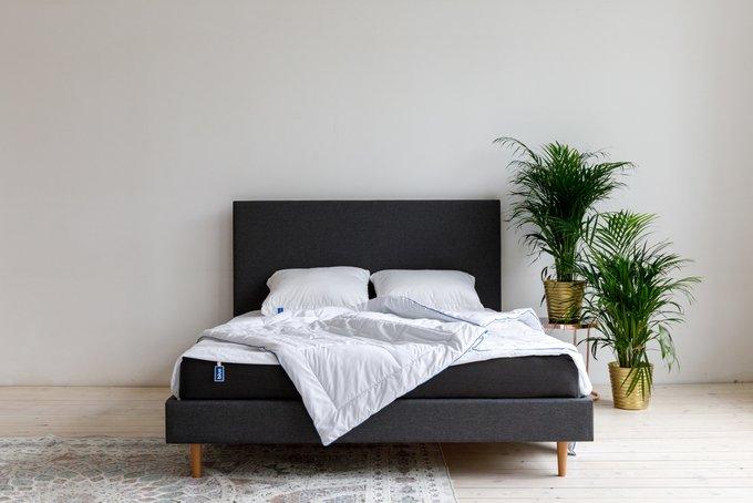 Кровать Grey серого цвета с изголовьем 140х200
