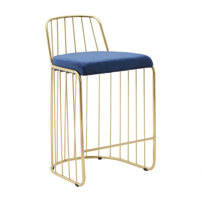 Барный стул с металлическим каркасом золотого цвета