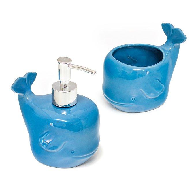 Набор для ванной комнаты керамический Balvi deep sea голубой