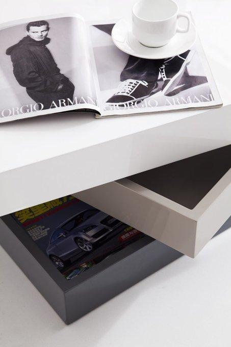 Журнальный стол-трансформер бело-серого цвета