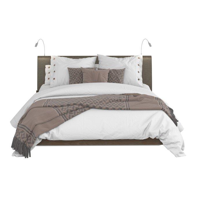 Кровать Сиена 160х200 с серым изголовьем и двумя светильниками