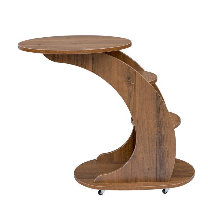 Подкатной столик Стелс с полками орех