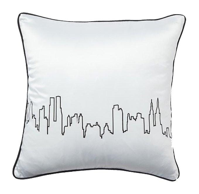 Подушка с принтом City Waves White