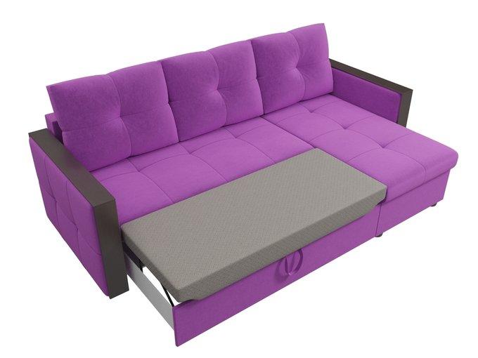 Угловой диван-кровать Валенсия фиолетового цвета