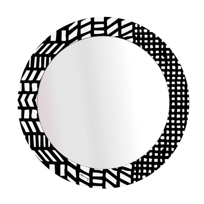 Зеркало Etro с черно-белым принтом