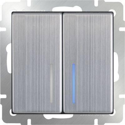 Выключатель двухклавишный проходной с подсветкой цвета глянцевый никель