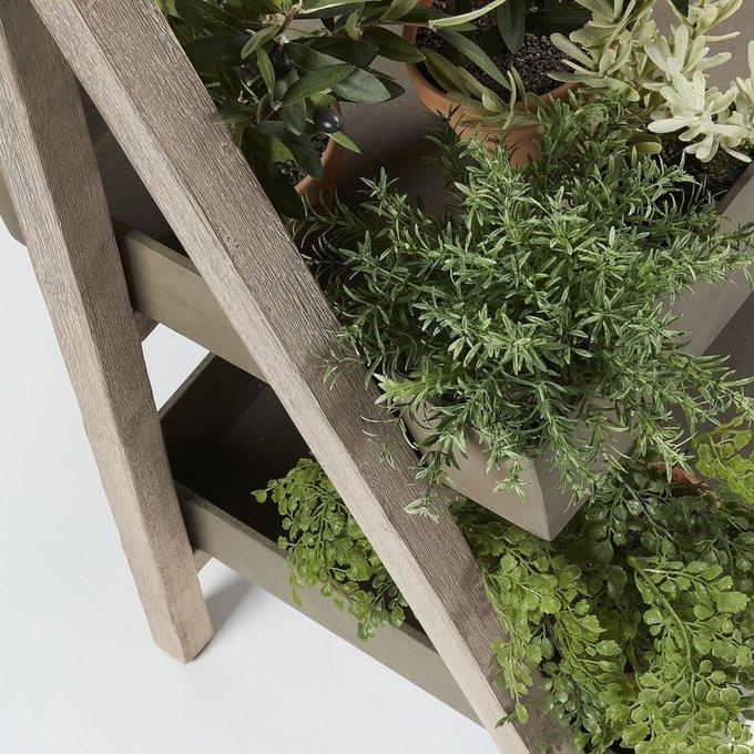 Стеллаж Stahl из дерева акации и полицемента