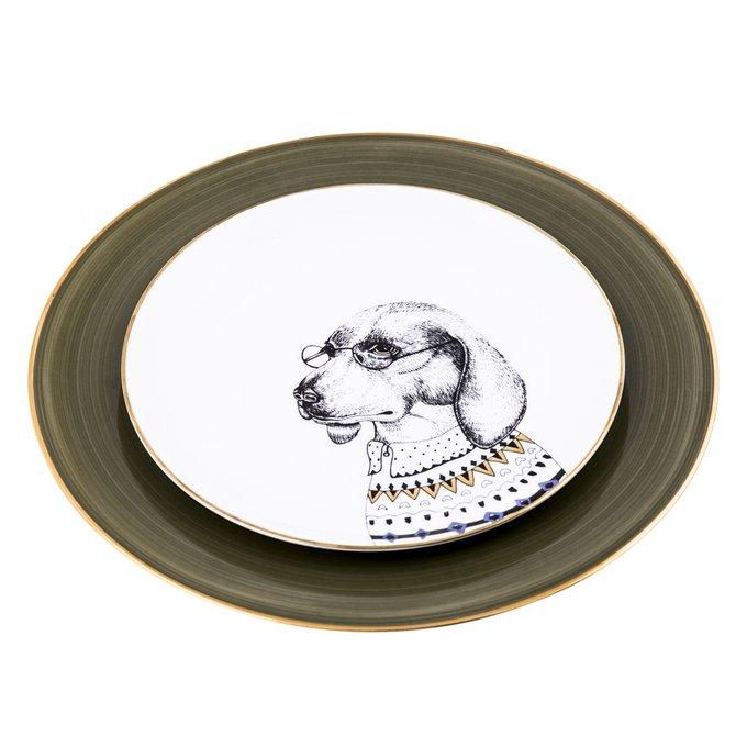 Набор из двух фарфоровых тарелок Ученый пес
