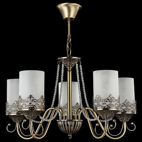 Подвесная люстра Maytoni Sherborne бронзового цвета с белыми плафонами