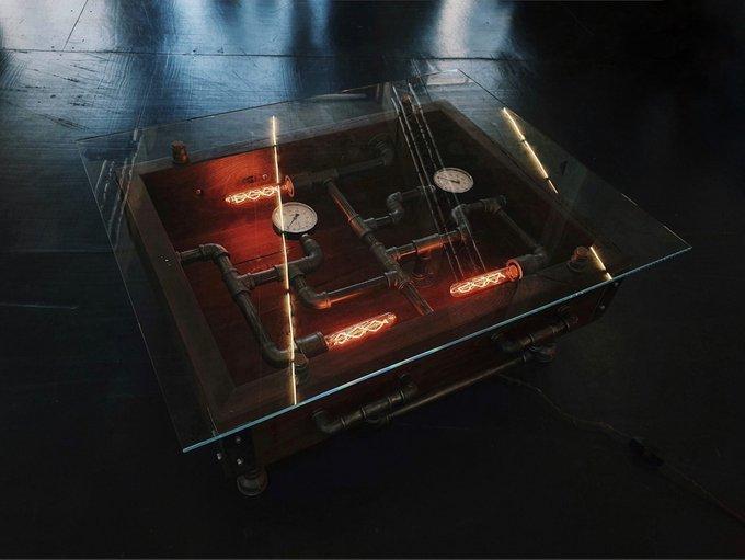 Журнальный столик в стиле лофт Diablo со стеклянной столешницей