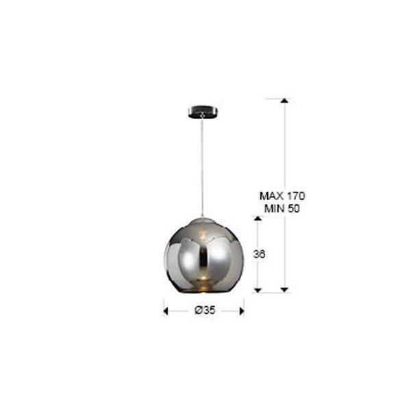 Подвесной светильник Schuller Esfera с плафоном из зеркального стекла цвета хром