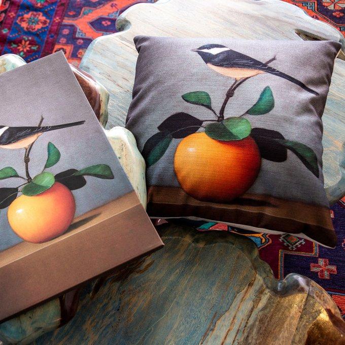 Интерьерная подушка Мистер Оранж серо-голубого цвета