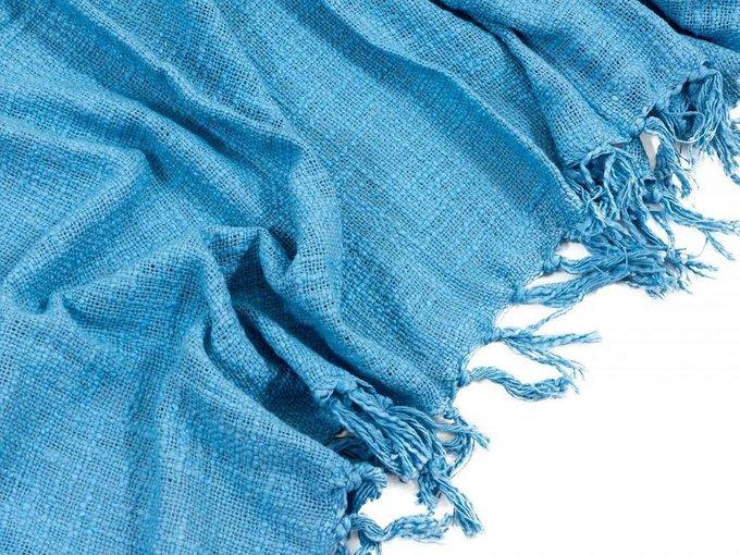 Плед хлопковый H&S Monochrome голубого цвета 130х170