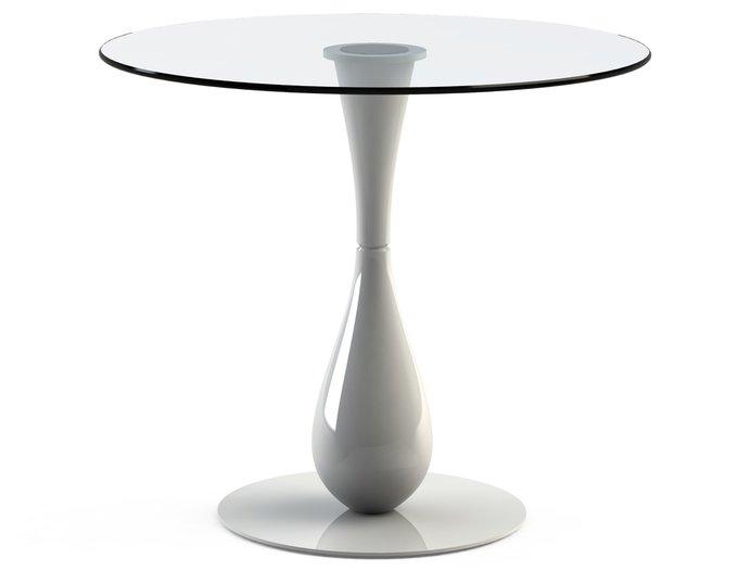 """Обеденный стол """"FLOS White"""" с круглой столешницей из закаленного стекла"""