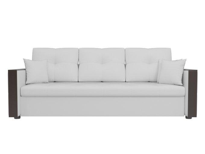 Прямой диван-кровать Валенсия белого цвета (экокожа)
