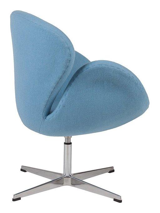 Кресло Swan Chair из шерстяной ткани голубого цвета