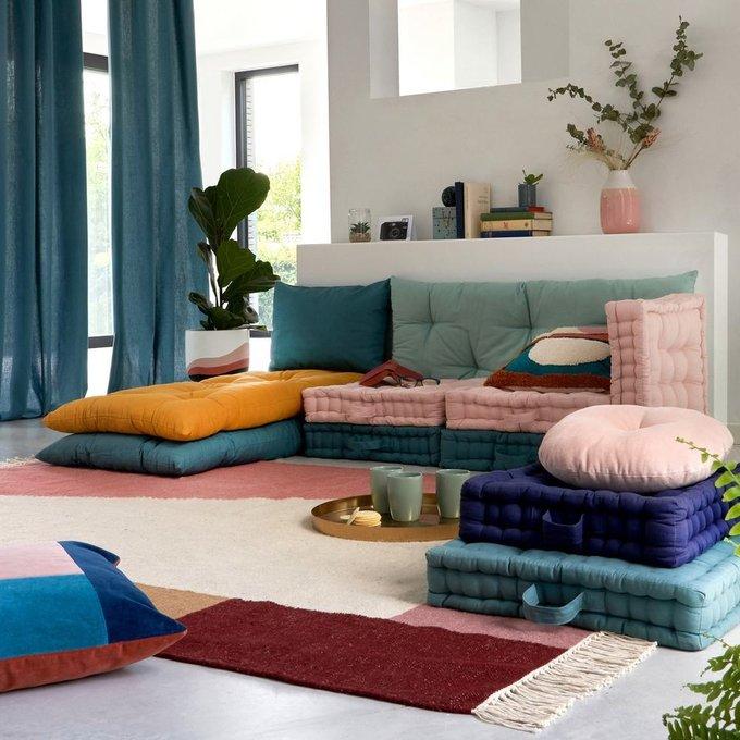 Напольная подушка Scenario серо-бирюзового цвета 38x38x10