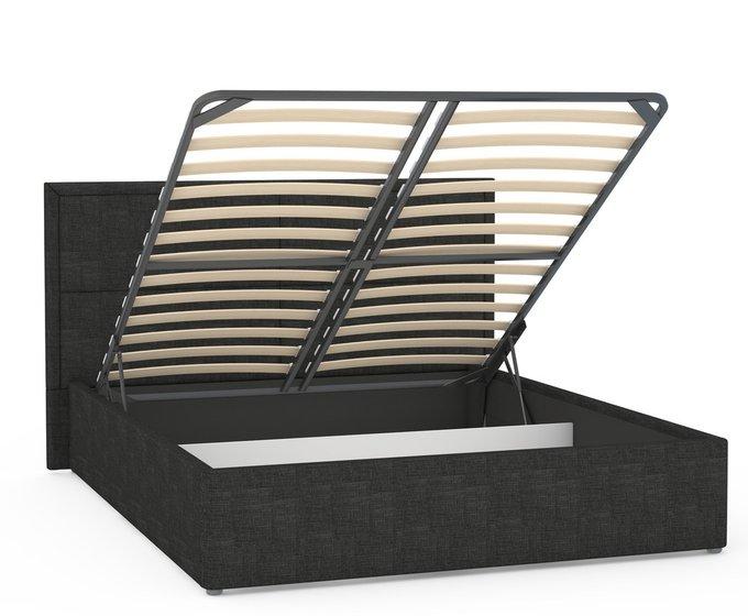 Кровать Прага черного цвета с подъемным ортопедическим основанием и дном 160х200