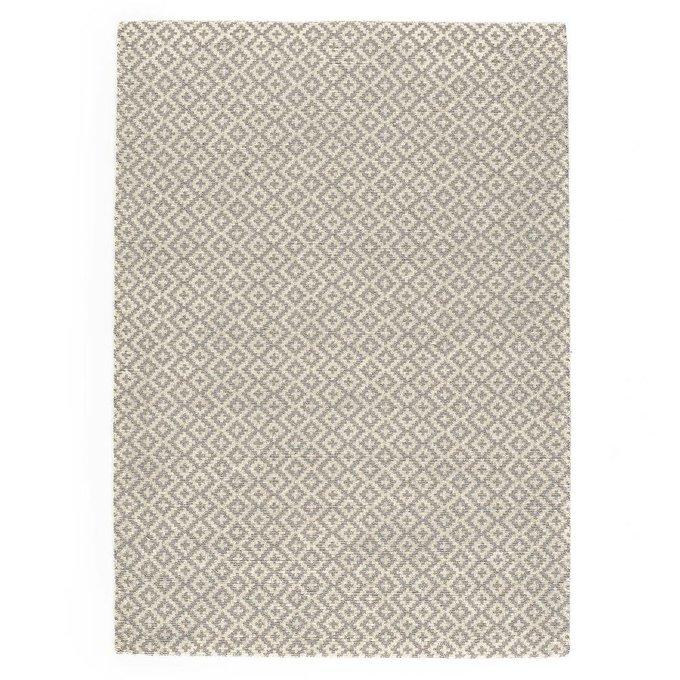 Ковер Nevio шерстяной ворсистый серого-белого цвета 160x230