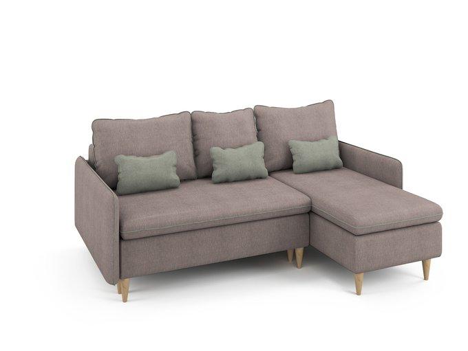 Угловой раскладной диван Ron правый бледно-розового цвета