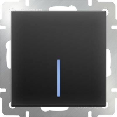 Выключатель одноклавишный с подсветкой черного матового цвета