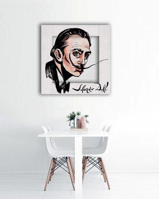 Картина Портрет Сальвадора Дали с Арт рамой 70х70