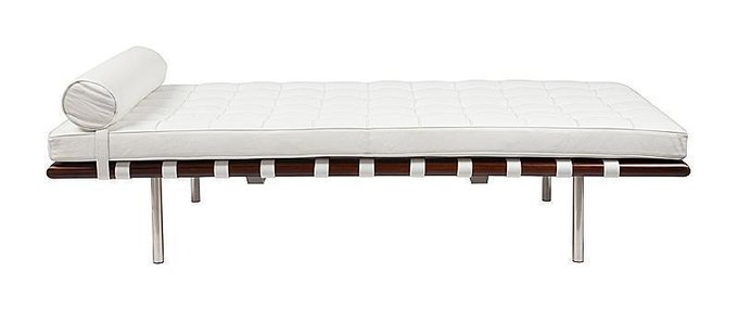 Кушетка Barcelona Couch Белая Кожа Класса Премиум