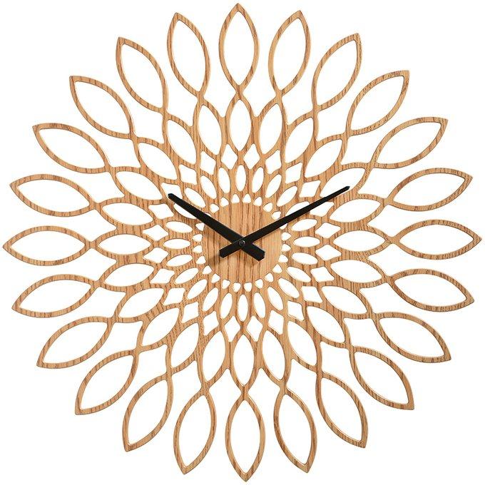 Деревянные настенные часы Oslo в виде подсолнуха