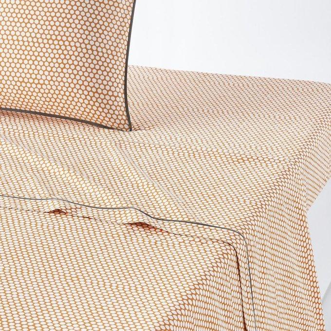 Простынь Duo из перкаля оранжево-белого цвета 270x290