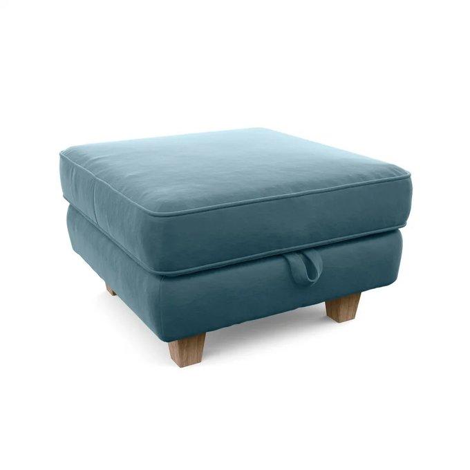 Пуф Агата с ящиком для хранения голубого цвета