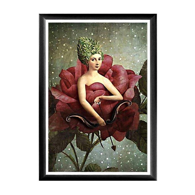 Арт-постер Розовый амур в черно белой раме