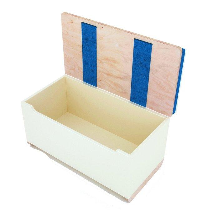 Ящик для игрушек Woody с обивкой светло-серого цвета