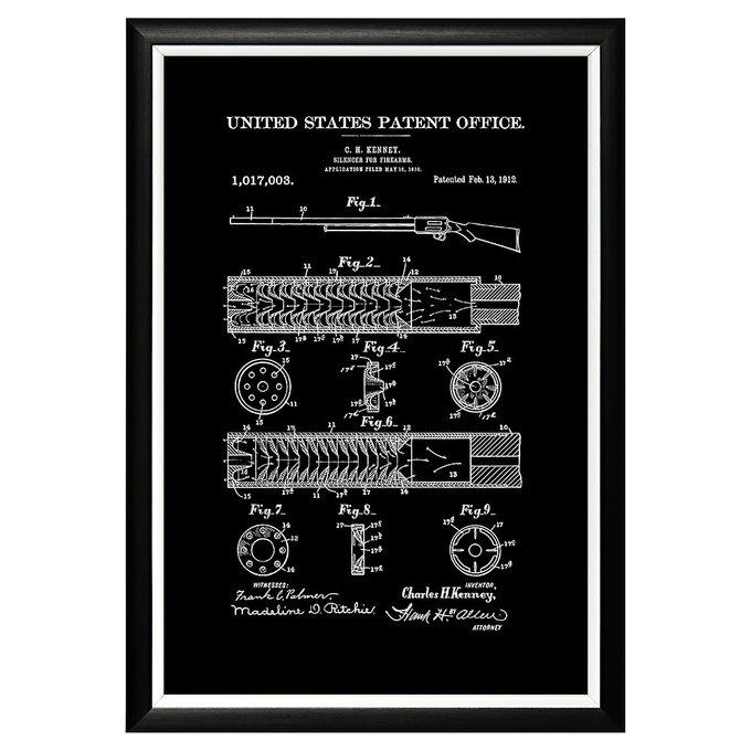 Арт-постер Патент на глушитель для огнестрельного оружия