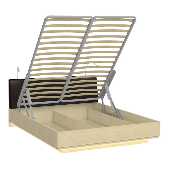 Кровать Элеонора 140х200 с изголовьем черного цвета и двумя светильниками