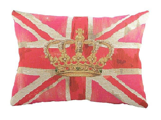 Большая подушка с британским флагом Crown Pink