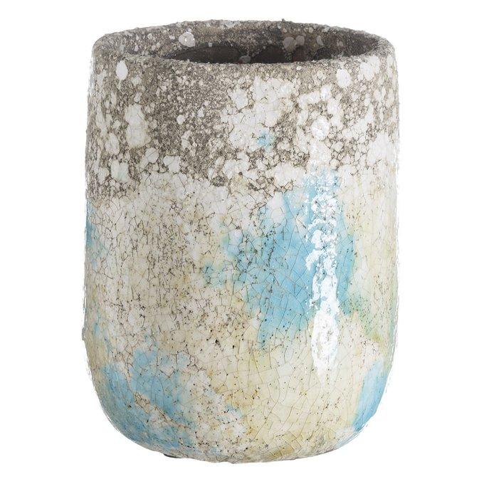 Керамическое кашпо бежево-голубого цвета
