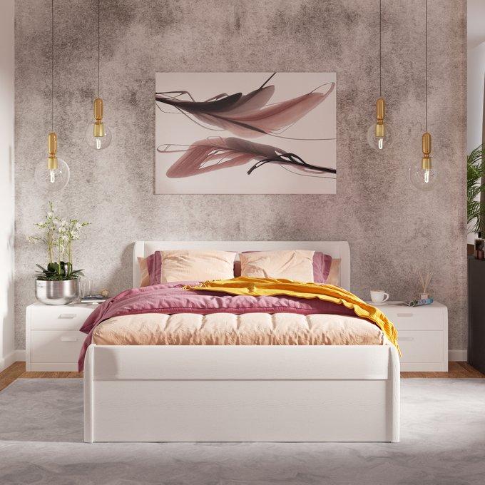 Кровать Илона 140х200 белого цвета с подъемным механизмом