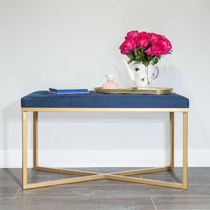 Банкетка с золотым основанием и велюровой обивкой цвета Сапфир