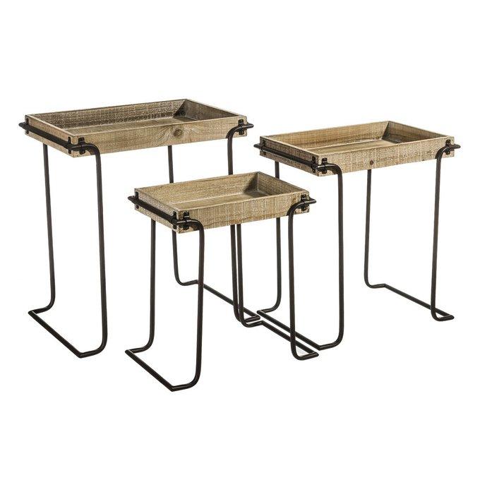 Набор из трех сервировочных столиков  на металлических ножках