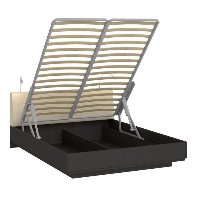 Кровать Элеонора 160х200 с изголовьем бежевого цвета и двумя светильниками