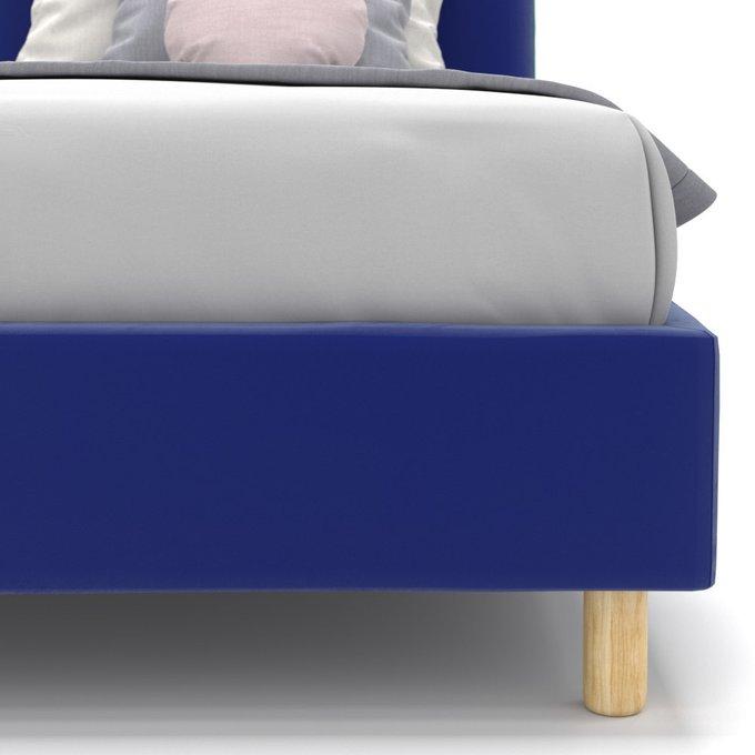 Односпальная кровать Alana на ножках синего цвета 120х200