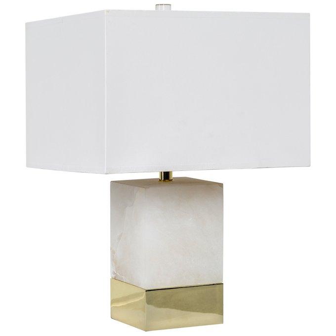 Настольная лампа Каррара с белым абажуром