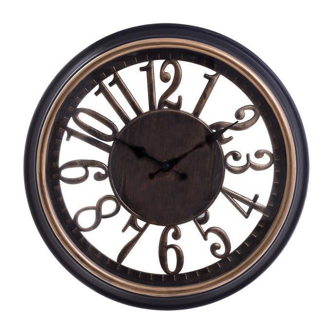 Часы настенные из пластика черно-золотого цвета